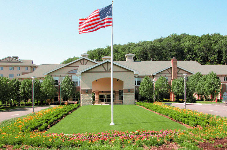 Front entrance to Cedar Crest Senior Living community in New Jersey